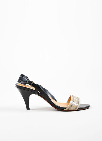 Black and Grey Lanvin Snakeskin Leather Slingback Heeled Sandals Sideview