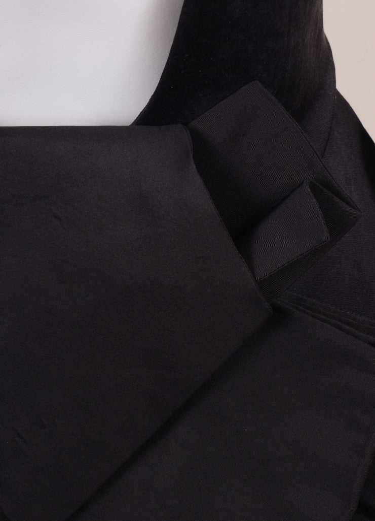 Lanvin Black Silk Blend Open Back Bow Detail Sleeveless Cocktail Dress Detail
