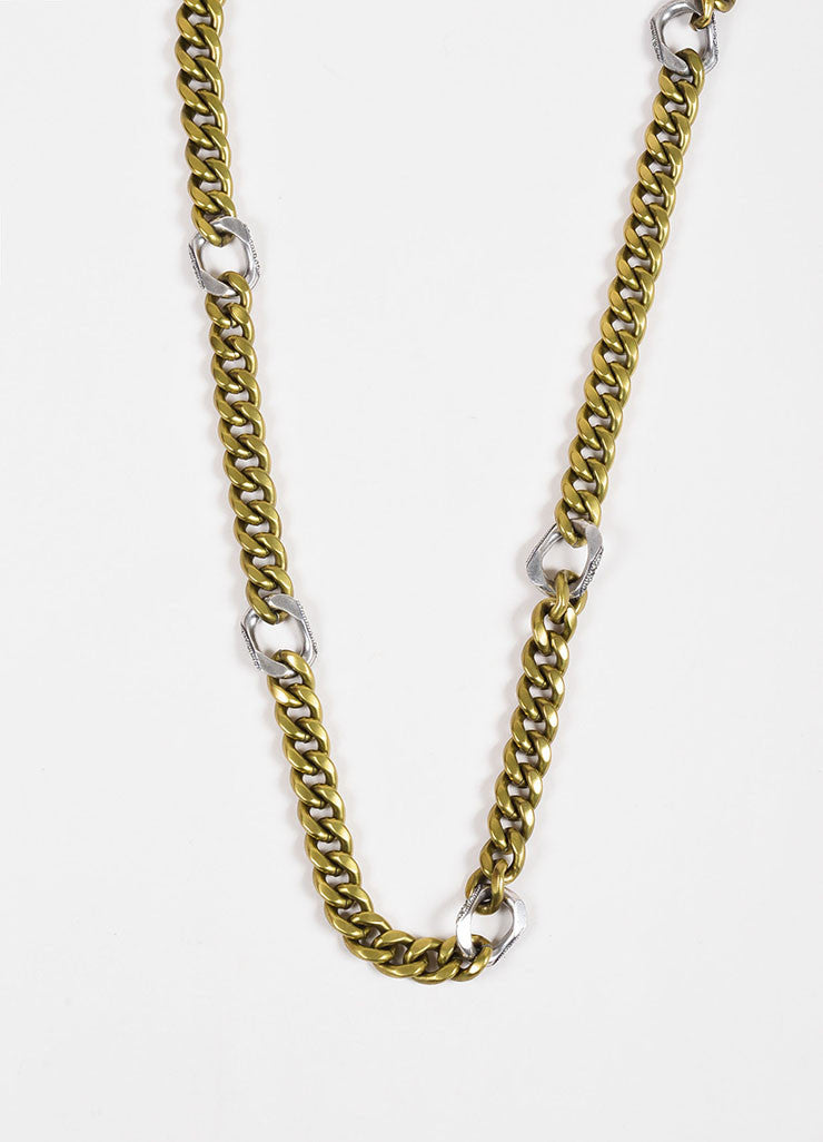 Lanvin Brass and Silver Toned Pave Crystal Layered Chunky Curb Chain Necklace Detail 2