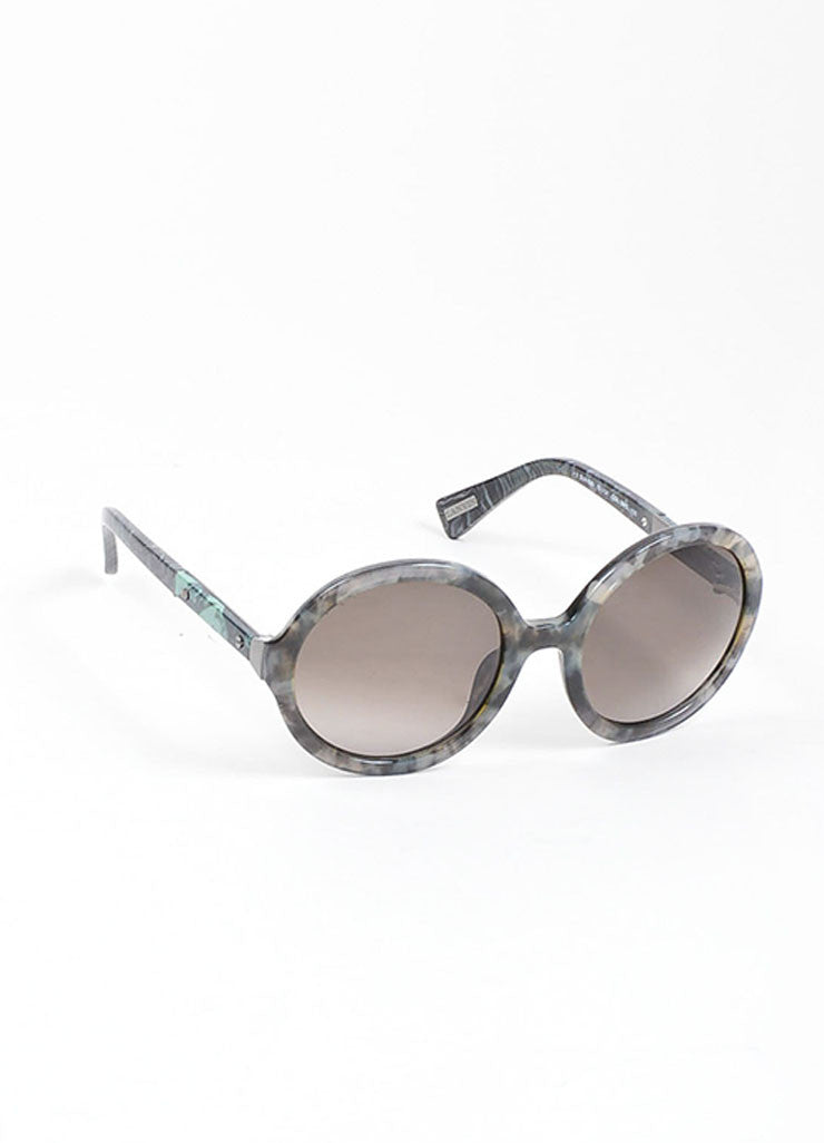 "Grey, Black, and Green Lanvin Marbled Plastic Round Frame ""SLN 628"" Retro Sunglasses Sideview"