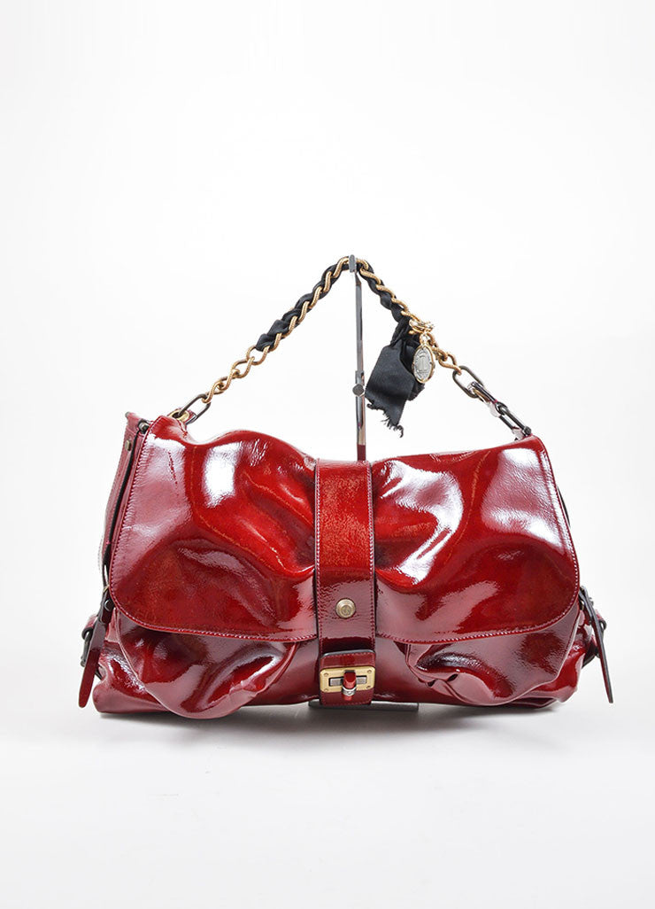 "Lanvin Red Patent Leather East West Ribbon Chain Strap Shoulder Flap ""Pise"" Bag Frontview"
