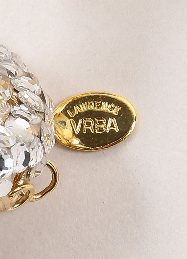 Lawrence Vrba Gold Toned and Cream Faux Pearl Rhinestone Chandelier Earrings Brand
