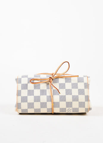 Louis Vuitton Blue Cream Damier Azur Coated Canvas Foldable Jewelry Pouch front