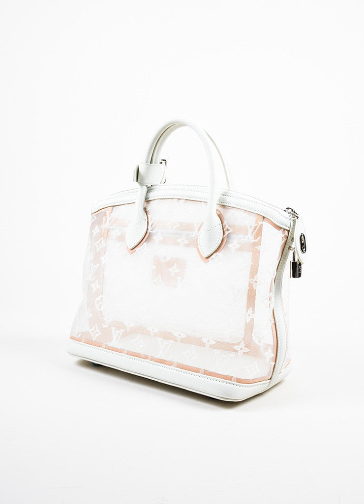 "Louis Vuitton Limted Edition White Nylon and Leather ""Transparence Lockit"" Satchel Bag Sideview"