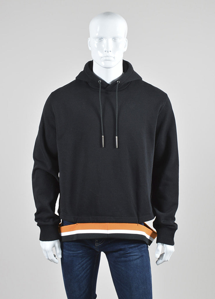 Men's Black Orange White Givenchy Cut Out Hem Fleece Hoodie Front