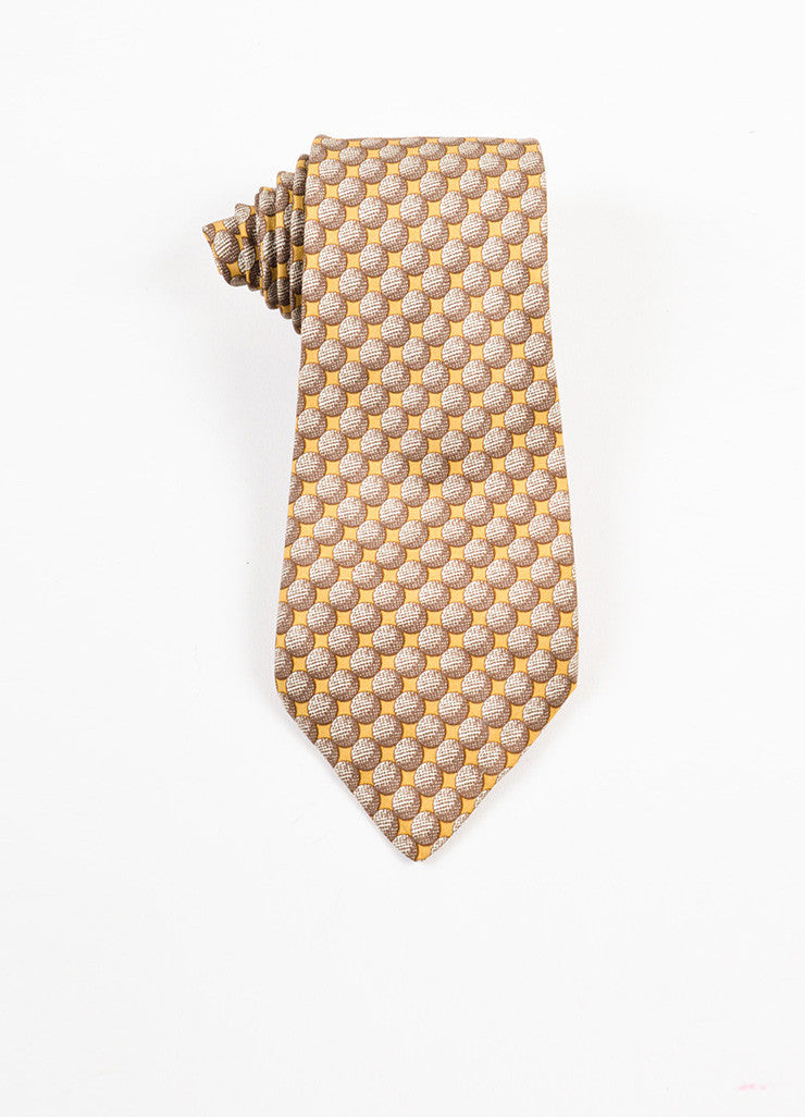 Men's Hermes Brown Tan Silk Circle Graphic Print Neck Tie Front