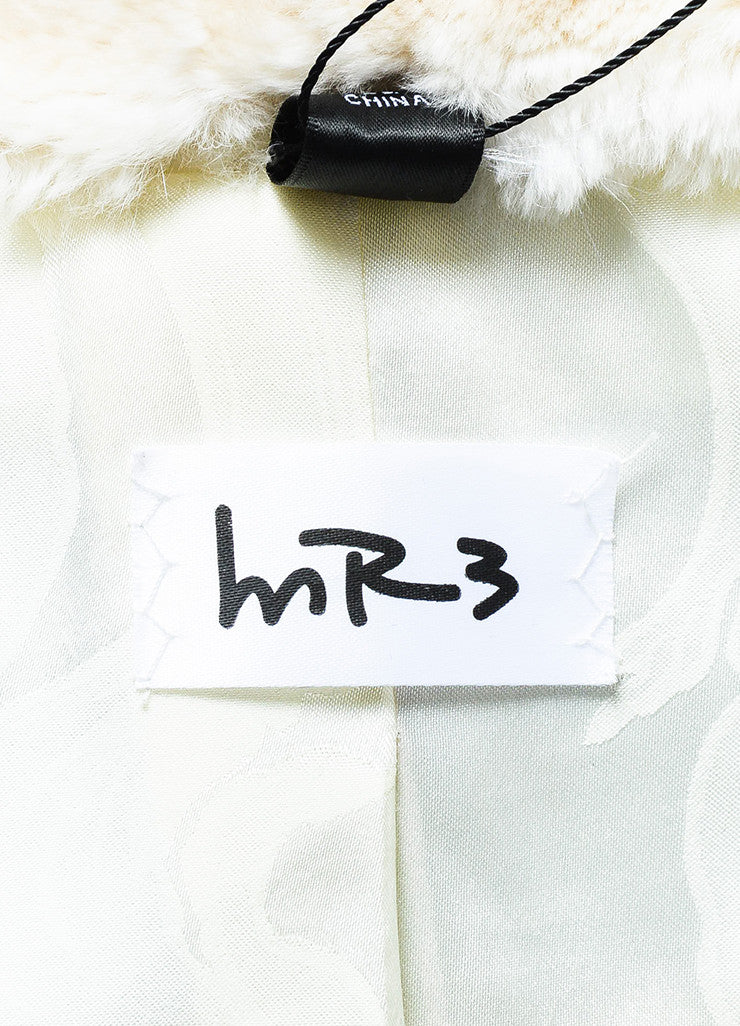 MR3 Cream and Grey Fur High Collar Crop Coat Brand