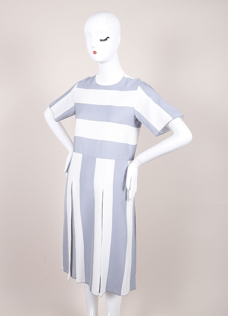 Marc Jacobs New With Tags Grey and White Stripe Print Pleated Short Sleeve Dress Sideview