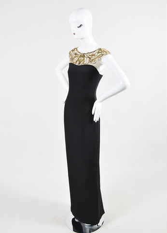 Black and Gold Marchesa Notte Silk Sequin Embellished Cap Sleeve Gown Sideview