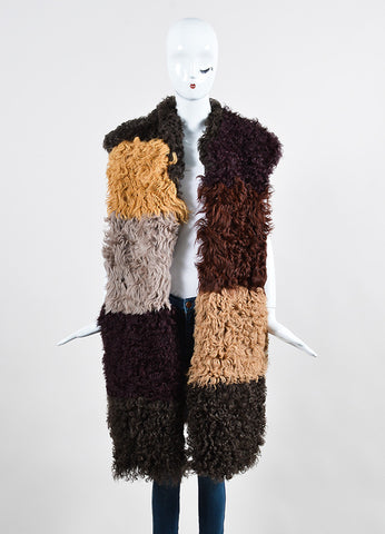 Marni Multicolor Patchwork Shearling Long Vest Frontview