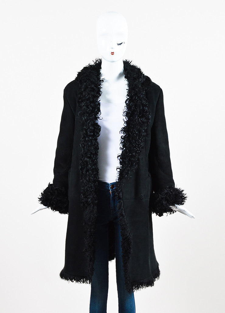 Black Marni Suede and Lamb Shearling Paneled Coat Frontview