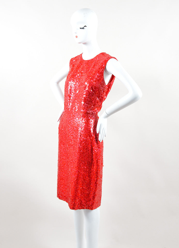 Naeem Khan Red Silk Sequin Beaded Sleeveless Sheath Dress Sideview