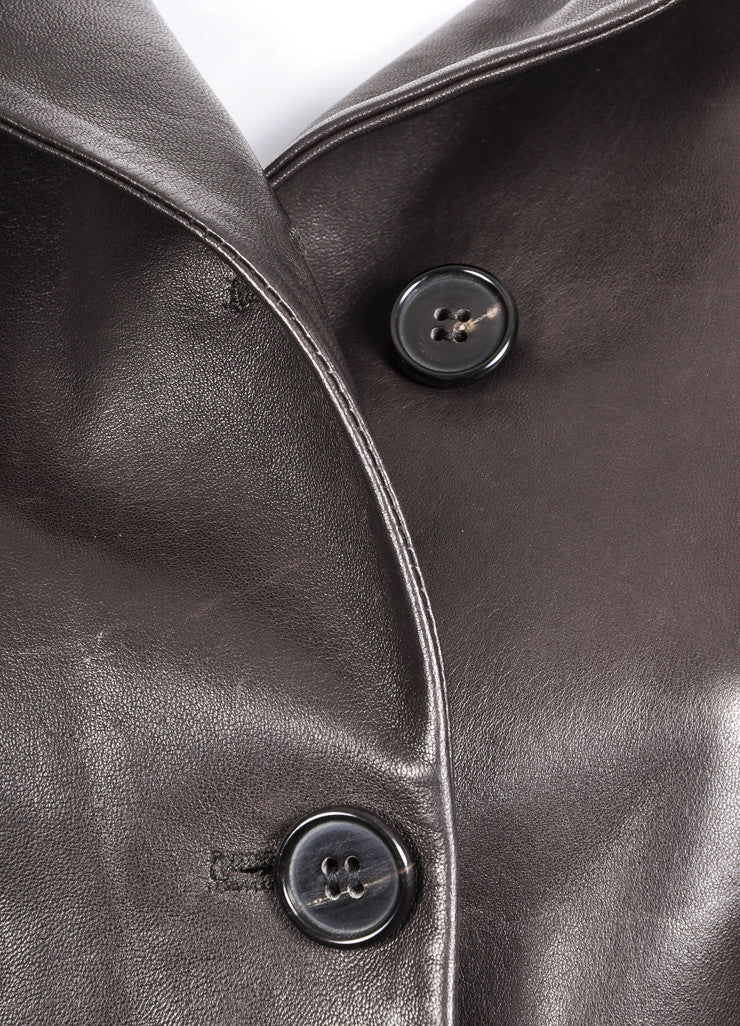 Narciso Rodriguez Brown Leather Three Quarter Sleeve Tailored Jacket Detail