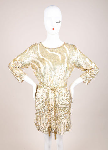 Oscar de la Renta Cream and Gold Sequin Embellished Belted Shift Dress Frontview