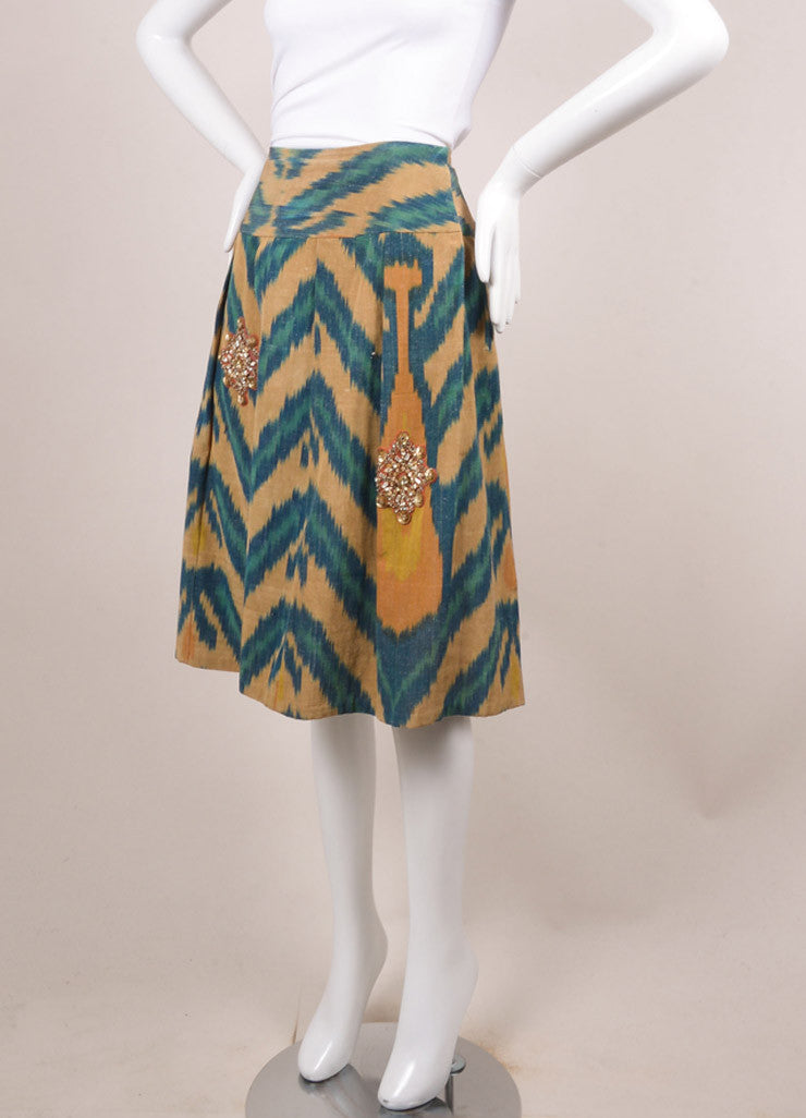 Oscar de la Renta Tan and Teal Silk Blend Printed Embellished Pleated Skirt Sideview