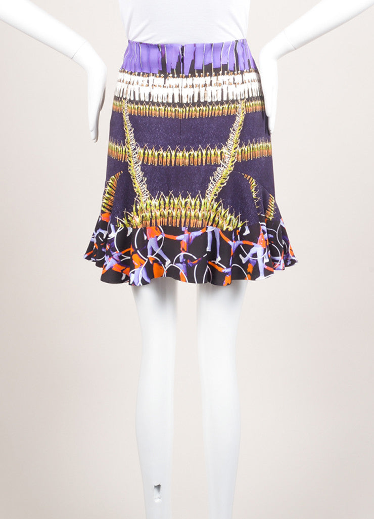 Peter Pilotto New With Tags Purple and Black Abstract Figure Printed Flounce Skirt Backview