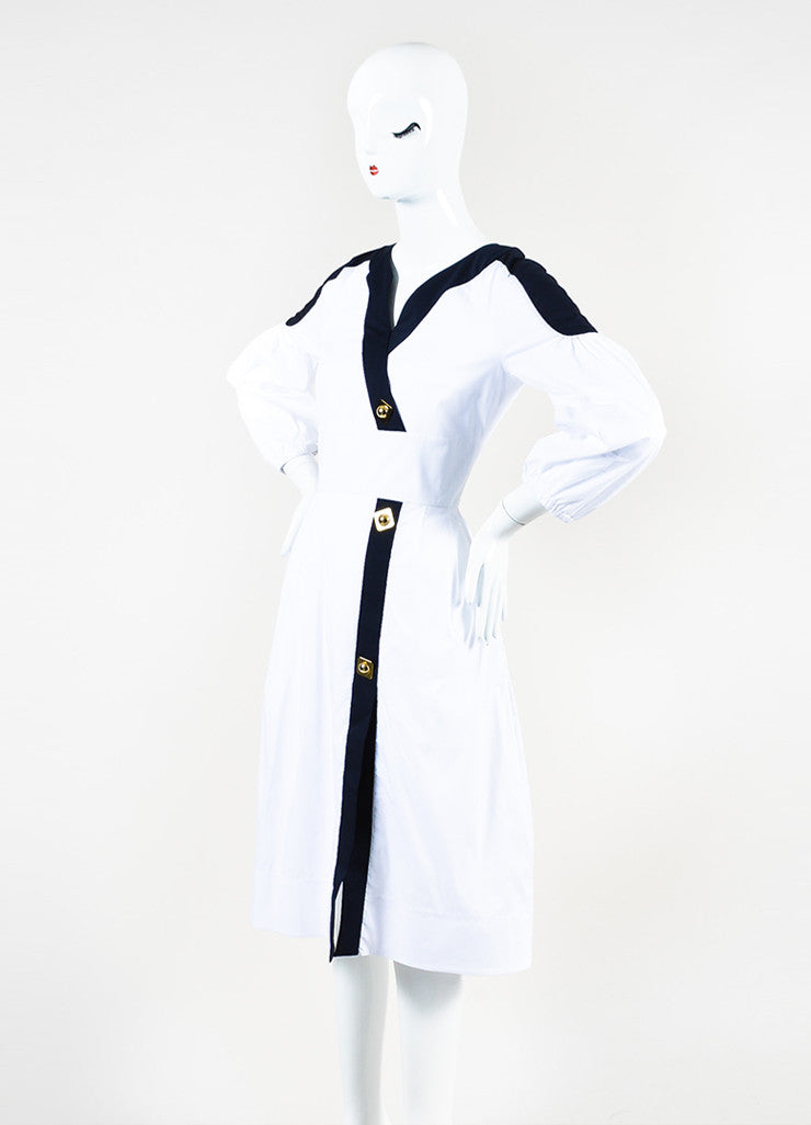 Peter Pilotto White, Navy, and Gold Toned Cotton Buttoned Penta Dress Sideview