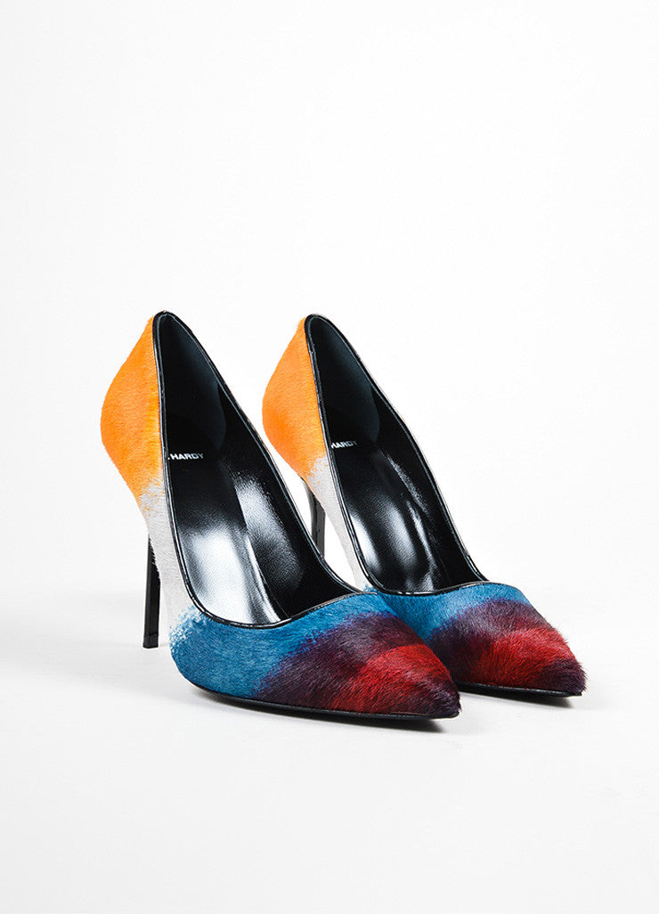 Multicolor Pierre Hardy Pony Hair Pointed Toe Pumps Frontview