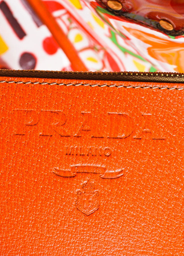 "Orange and Multicolor Prada Leather and PVC Floral Crossbody ""Plex Stampato"" Tote Bag Brand"