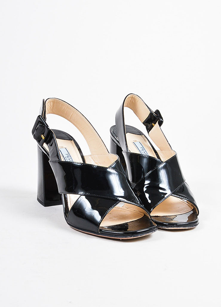 Prada Black Patent Leather Cross Strap Chunky Sandal Heels Frontview