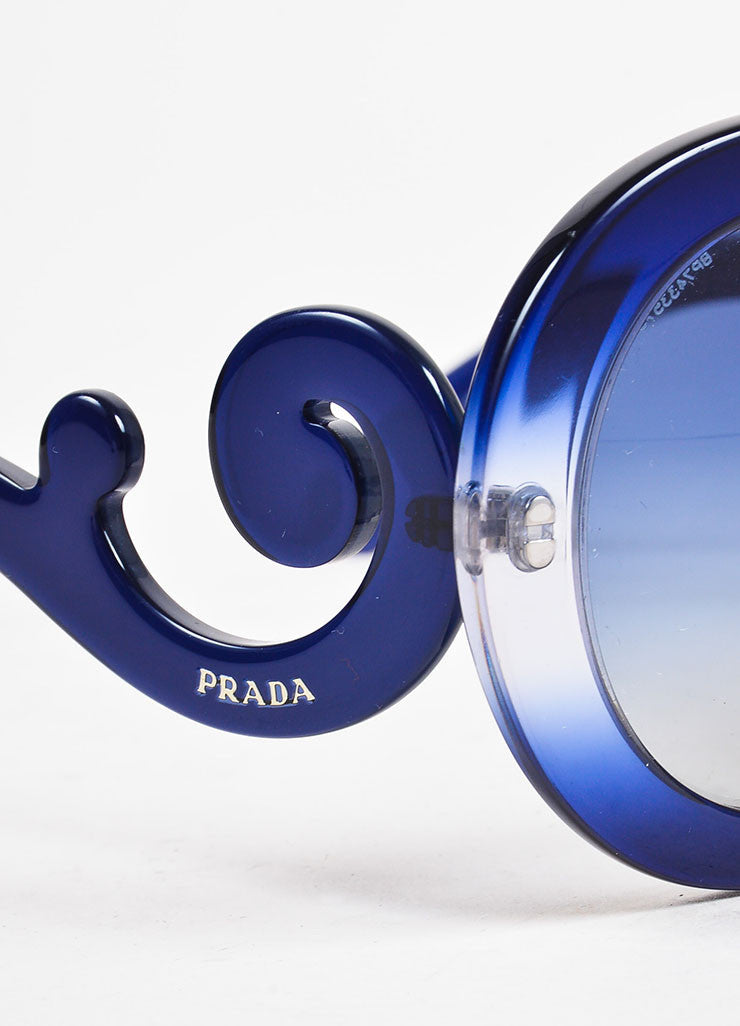 "Prada Blue Round Frame ""Baroque"" Sunglasses Detail"