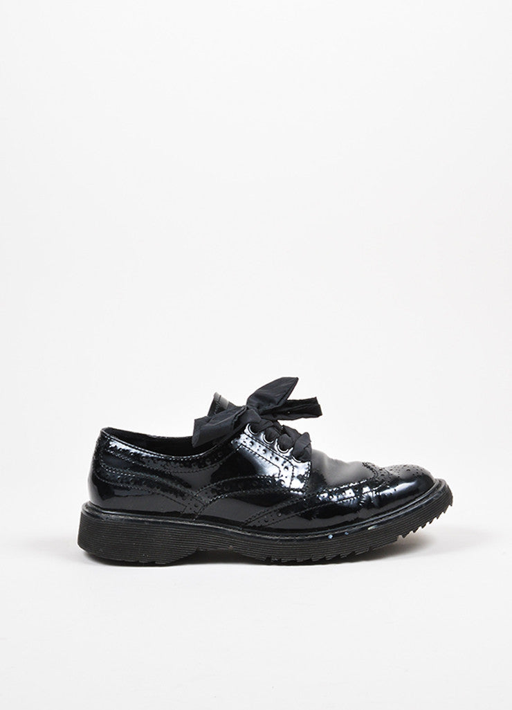 Black Prada Sport Patent Leather Lace Up Brogues Side