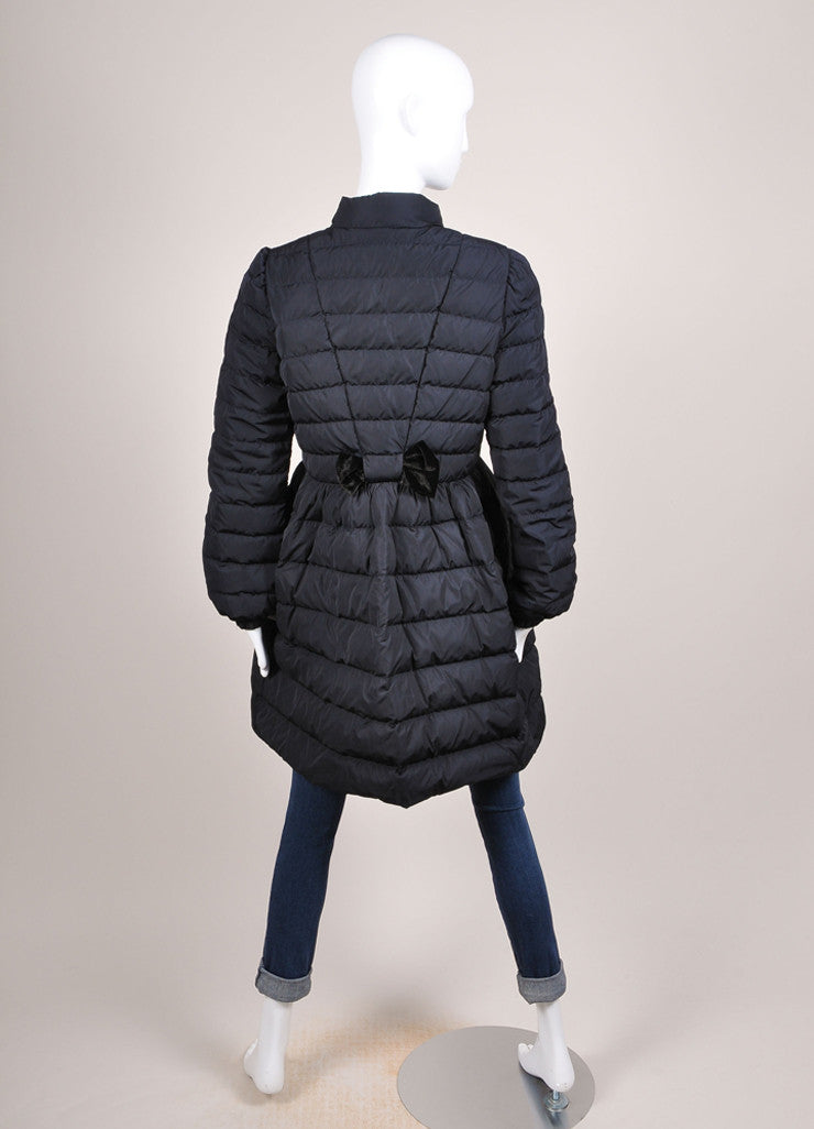 Red Valentino New With Tags Navy and Black Velvet Bow Trim Taffeta Puffer Coat Backview
