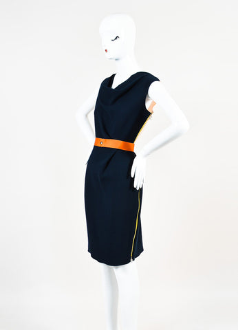 Navy Blue Roksanda Ilincic Wool Color Block Sleeveless Belted Dress Front