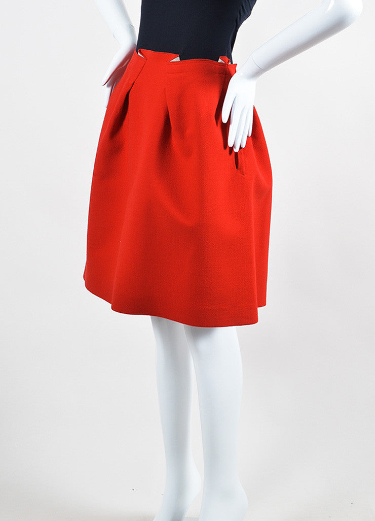 Red Roland Mouret Wool Zipper Knee Length Flared A-Line Skirt Sideview
