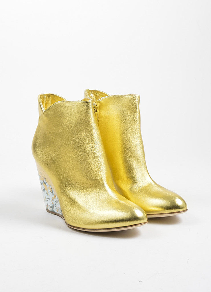 "Gold Metallic and Clear Rupert Sanderson ""Cupid"" Wedge Booties Frontview"
