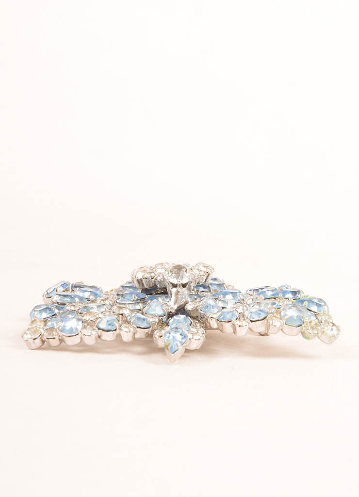 Schiaparelli Silver Toned and Blue Rhinestone Orchid Pin Sideview