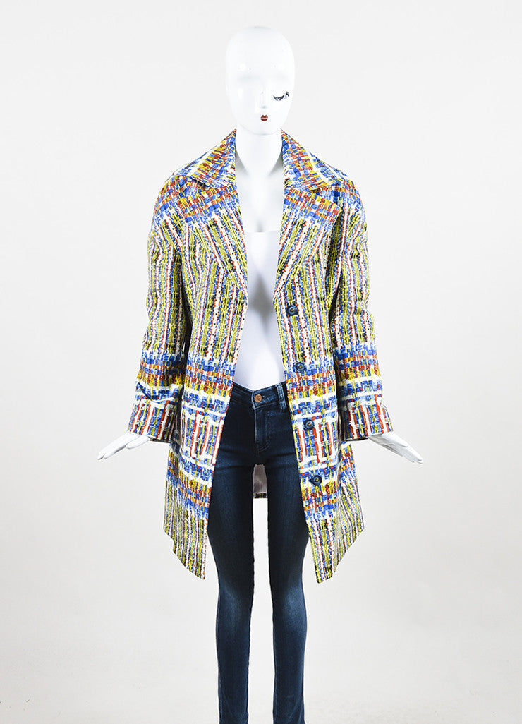 "Stella Jean Blue, Yellow, and White Cotton Printed ""Agente"" Overcoat Frontview"