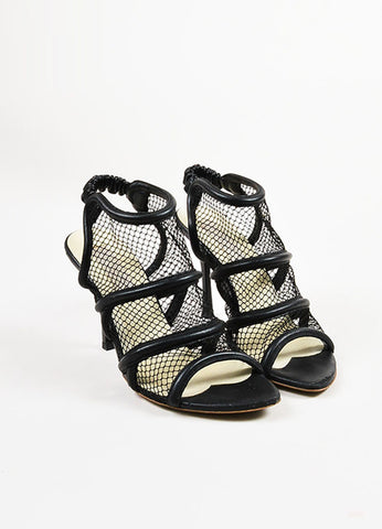 Black Stella McCartney Fishnet High Heel Sandals Front