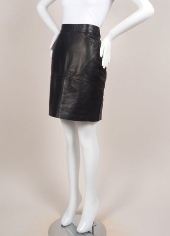 T by Alexander Wang New With Tags Black Leather Paneled Pencil Skirt Sideview
