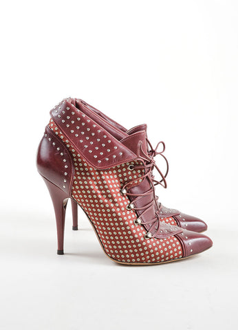 Tabitha Simmons Red Leather and Satin Pointed Toe Lace Up High Heel Booties Sideview