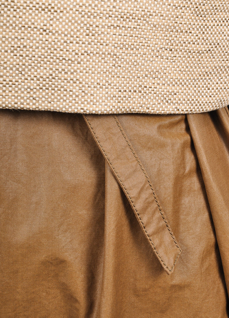 "The Row New With Tags Brown and Beige Coated Tweed Overlay ""Lia"" Combo Dress Detail"
