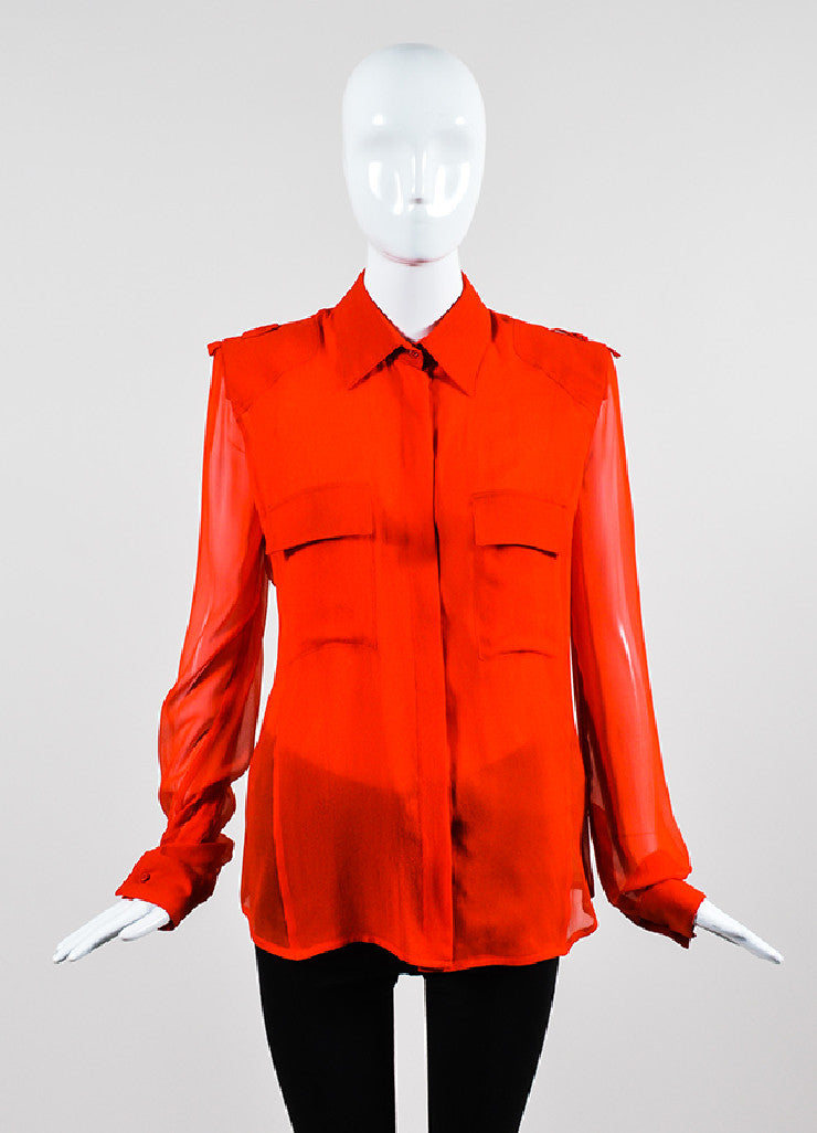 Tom Ford Red Silk Button Down Long Sleeve Blouse  Frontview