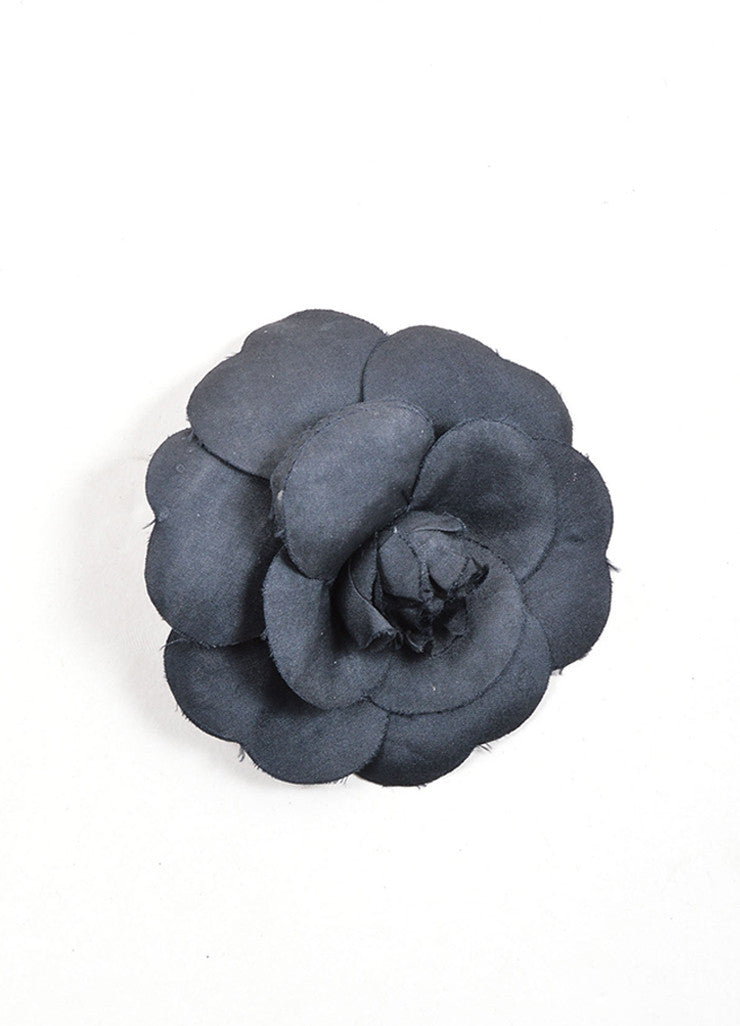 Chanel Black Silk Camellia Flower Brooch  Frontview
