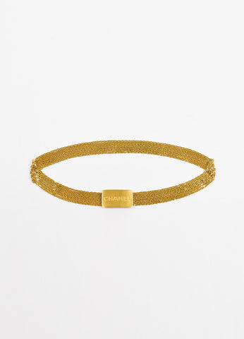 Chanel Gold Toned Metal 7 Strand Chain Link and Logo Plate Belt Frontview