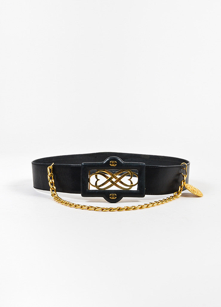 Black Chanel Gold Toned Hardware Leather Medallion Chain Belt Frontview