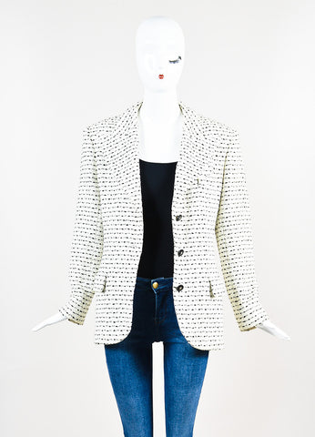 White & Black Chanel Boutique Textured Knit Buttoned Jacket Front