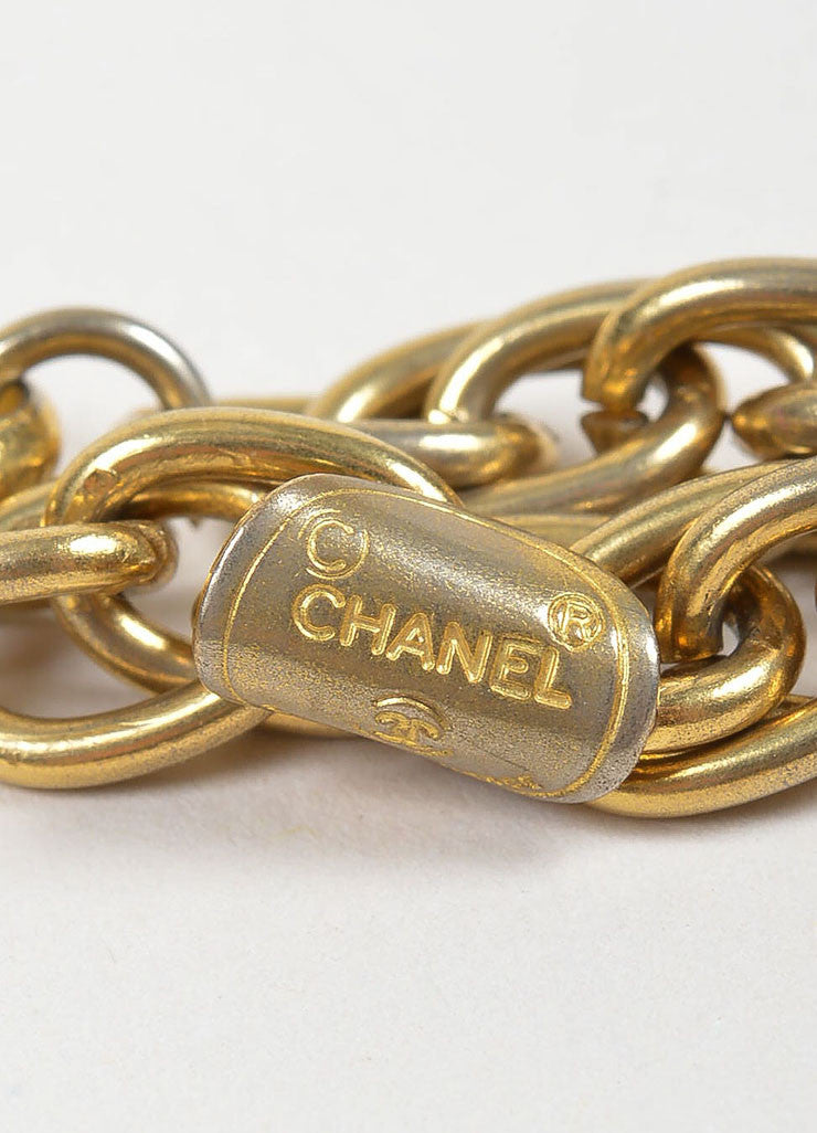 Gold Toned Chanel 'CC' Pendant Double Chain Choker Necklace Brand