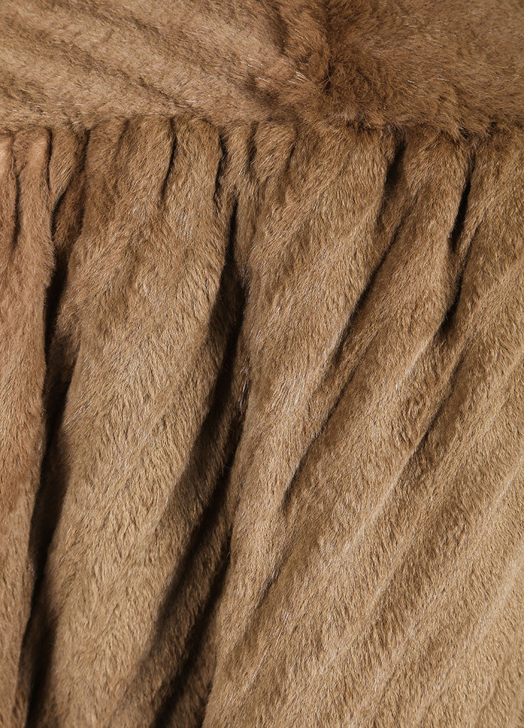 Fendissime by Fendi Brown and Green Sheared Beaver Fur Swing Coat Detail