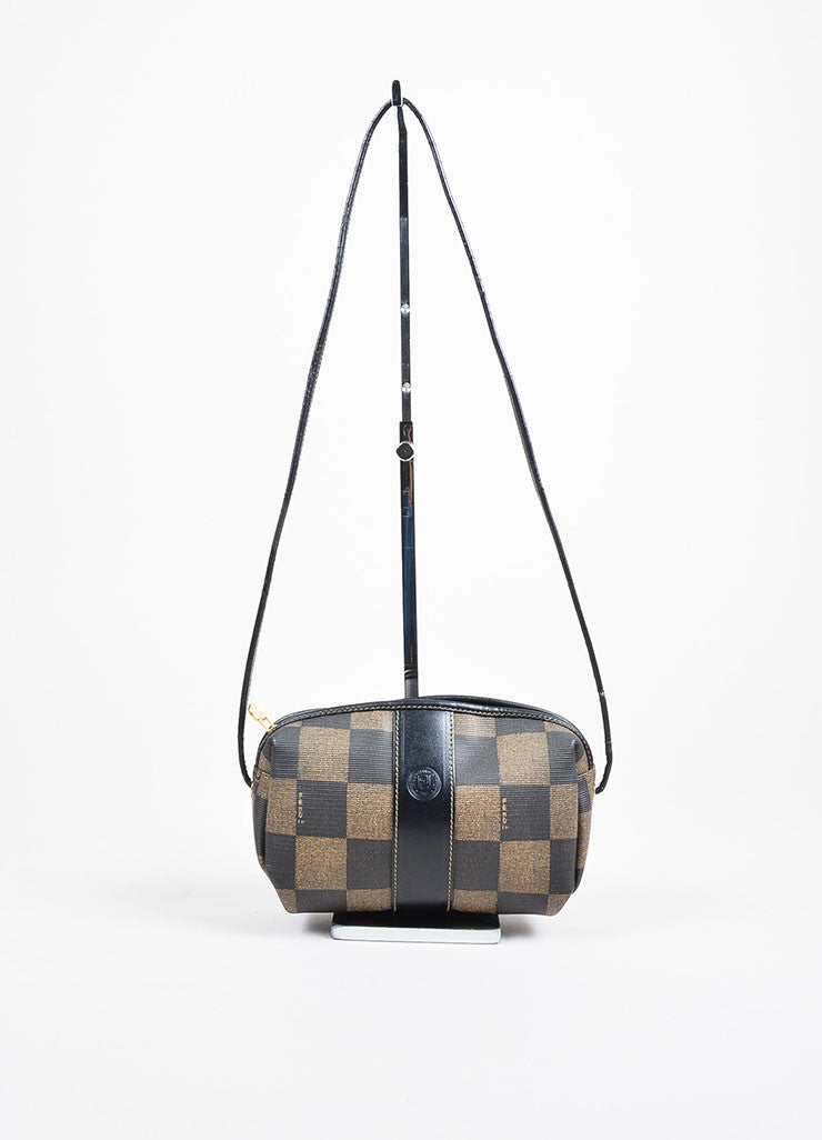 Fendi Tobacco and Black Coated Canvas Checkered Cross Body Zip Mini Bag Frontview
