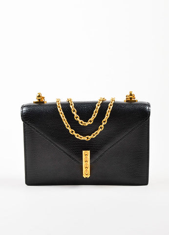 "Hermes Black Lizard Gold Toned Metal Chain ""Alcazar"" Shoulder Bag Frontview"
