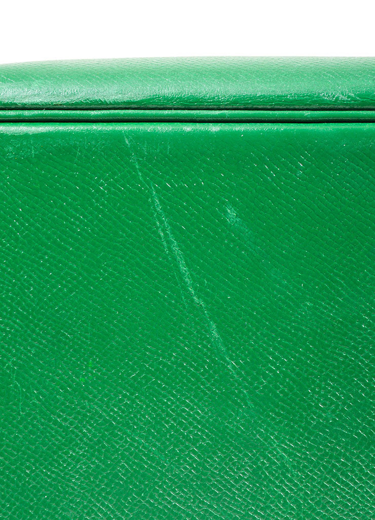"Kelly Green Hermes Leather ""Bolide 35cm"" Structured Satchel Bag Detail"