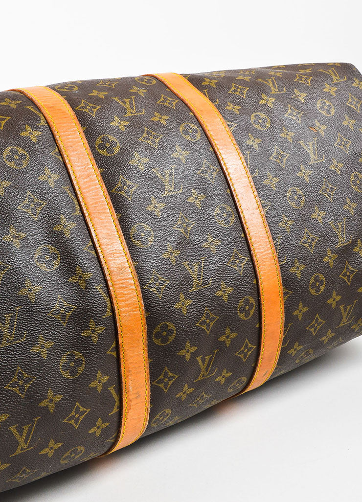 "Louis Vuitton Brown and Tan Coated Canvas and Leather Monogram ""Keepall 60"" Bag Bottom View"