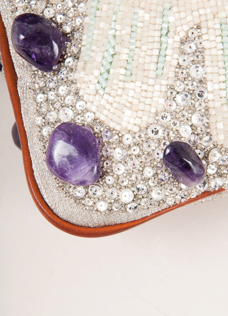 Valentino Brown, White, and Purple Leather Trim Sequin Beaded Embellished Flap Bag Detail