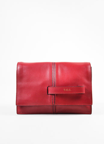 "Valentino Garavani Red Leather ""My Own Code"" ""MOC"" Accordion Clutch Front"