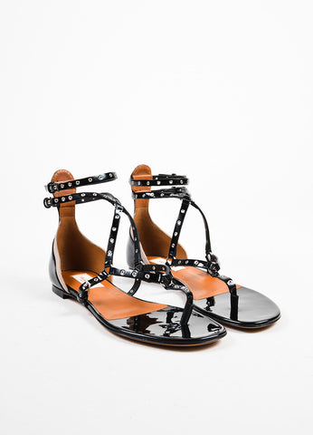 "Valentino Black Patent Grommet ""Love Latch"" Gladiator Sandals  Frontview"